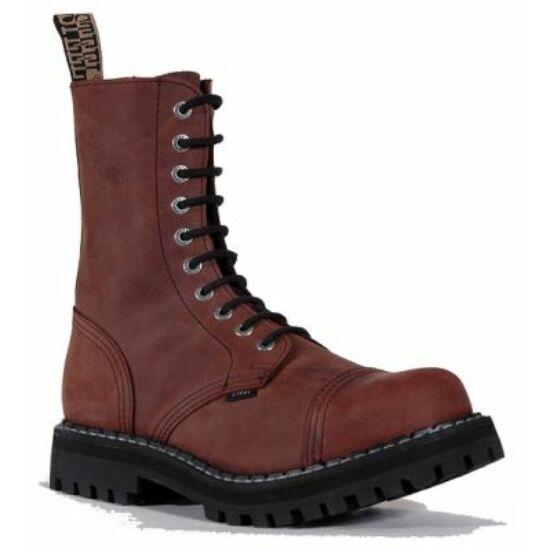 Bocanci Steel Boots, 10 găuri, maro
