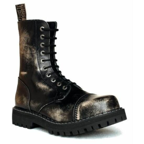 Bocanci Steel Boots, 10 găuri, alb murdar