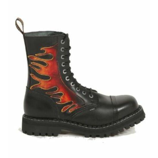 Bocanci Steel Boots cu 10 găuri, imprimeu foc