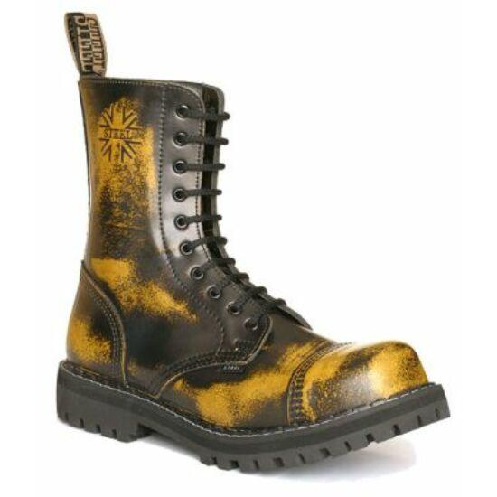 Bocanci Steel Boots cu 10 găuri,  galben murdar