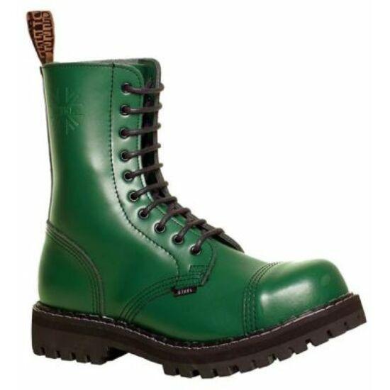 Bocanci Steel Boots cu 10 găuri, verde uni
