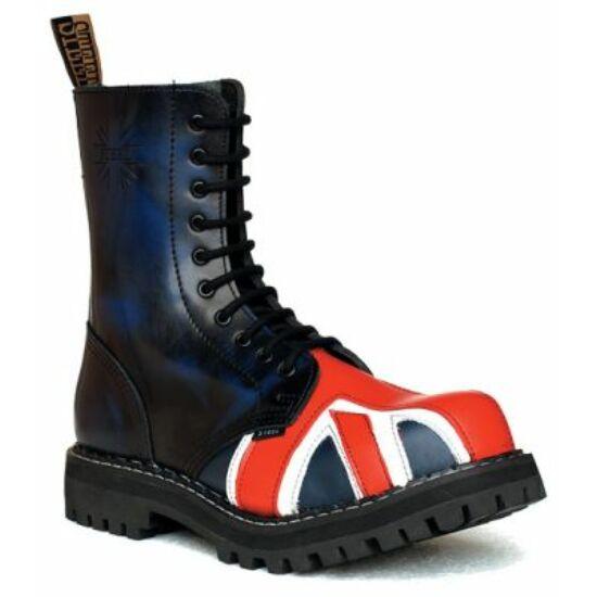 Bocanci Steel Boots cu 10 găuri, imprimeu steagul Marii Britanii