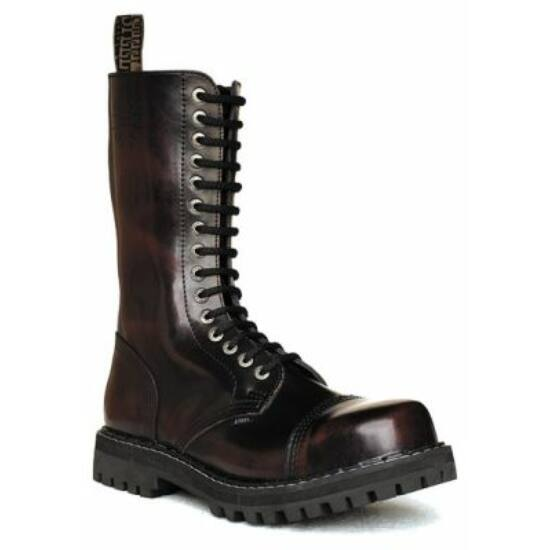 Bocanci Steel Boots cu 15 găuri, bordo