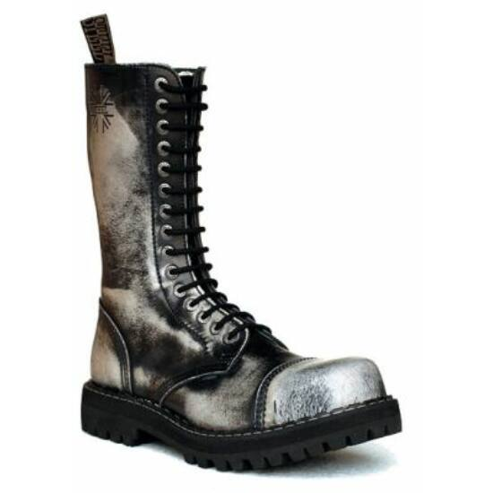 Bocanci Steel Boots cu 15 găuri, cromat