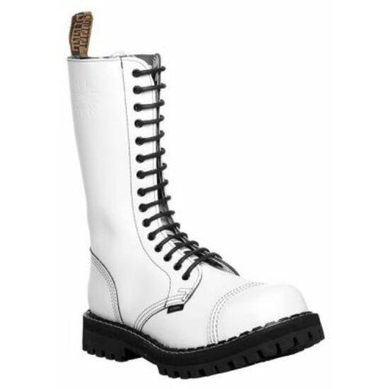 Bocanci Steel Boots cu 15 găuri, alb uni