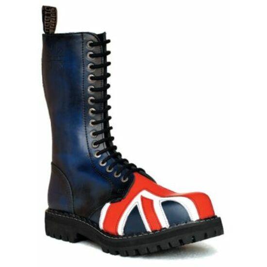 Bocanci Steel Boots cu 15 găuri, imprimeu steag UK
