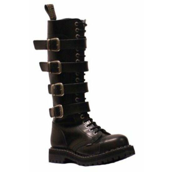 Bocanci Steel Boots cu 20 găuri, negri, 4 catarame