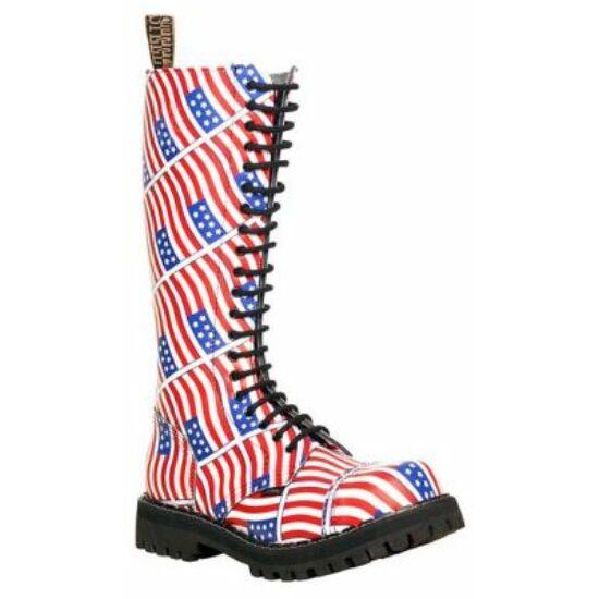 Bocanci Steel Boots cu 20 găuri, imprimeu steagul SUA