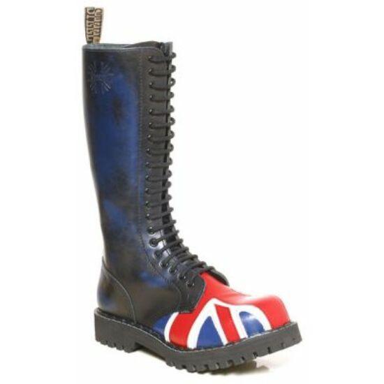 Bocanci Steel Boots cu 20 găuri, imprimeu steagul Marii Britanii