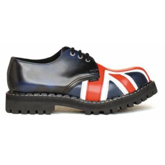 Bocanci Steel Boots cu 3 găuri, imprimeu steagul Marii Britanii