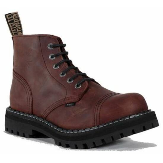 Bocanci Steel Boots cu 6 găuri, maro