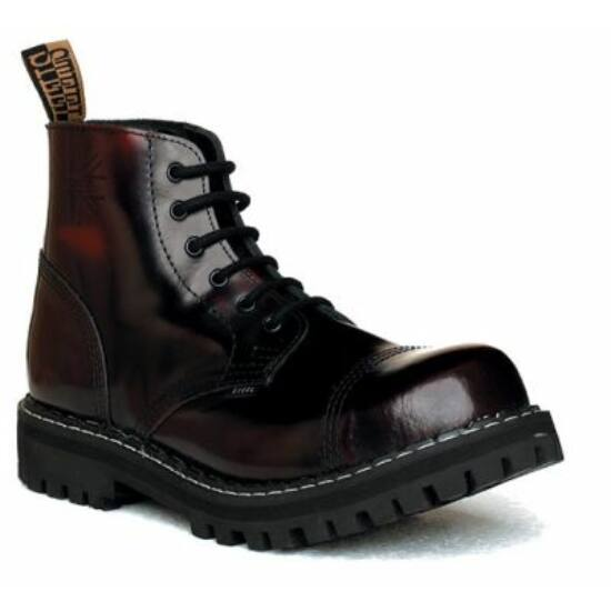 Bocanci Steel Boots cu 6 găuri, bordo
