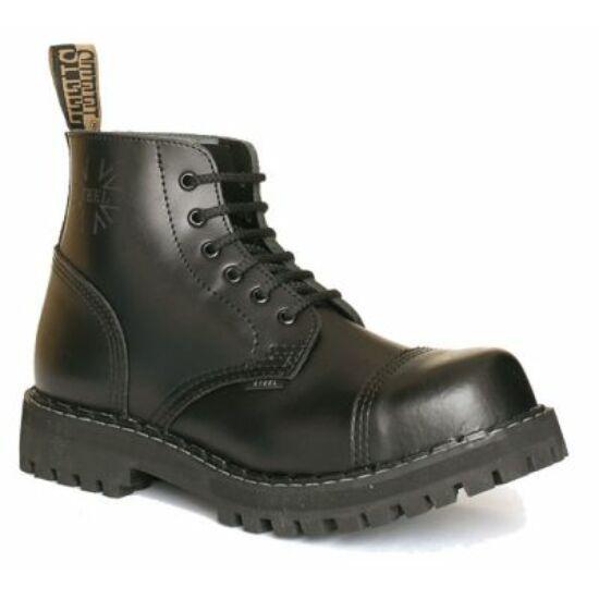 Bocanci Steel Boots cu 6 găuri, negri