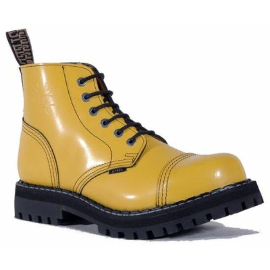 Bocanci Steel Boots cu 6 găuri, galben uni