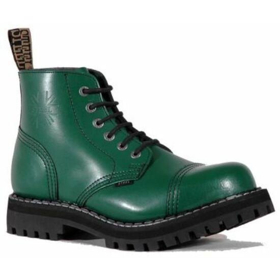Bocanci Steel Boots cu 6 găuri, verde uni
