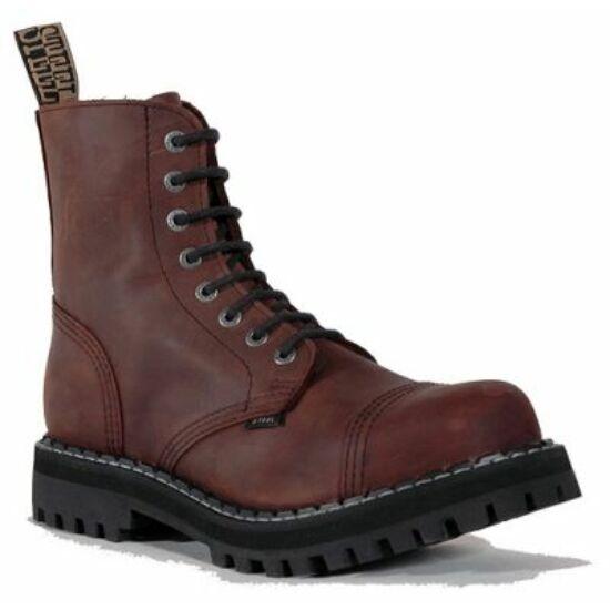 Bocanci Steel Boots cu 8 găuri, maro
