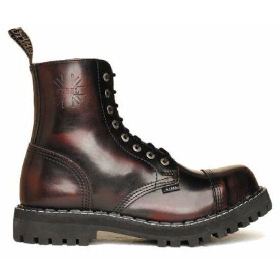 Bocanci Steel Boots cu 8 găuri, bordo