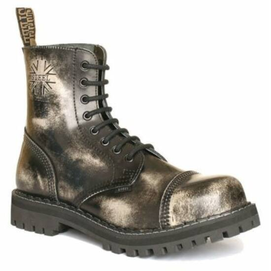Bocanci Steel Boots cu 8 găuri, alb murdar