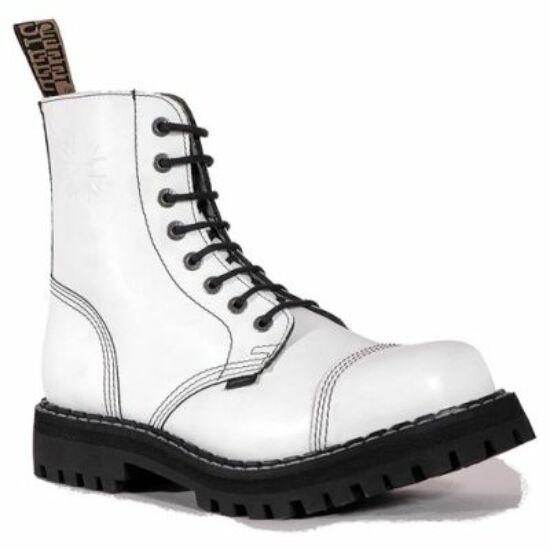 Bocanci Steel Boots cu 8 găuri, alb uni