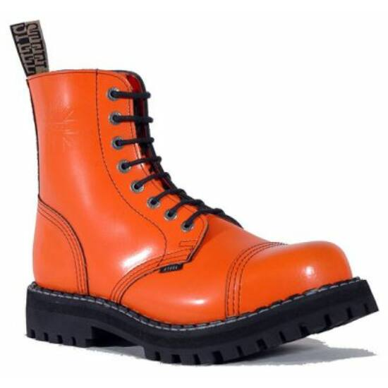 Bocanci Steel Boots cu 8 găuri, portoclaiu uni