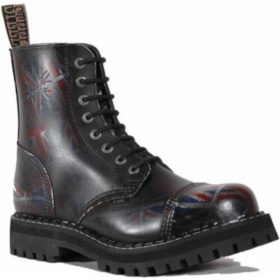Bocanci Steel Boots cu 8 găuri, negru UK