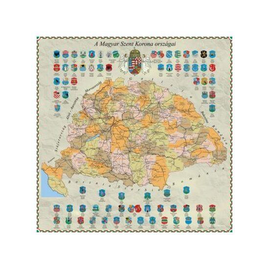 Eșarfă de mătase cu harta Ungariei
